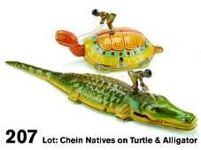 207 Lot Chein Natives on Turtle  Alligator