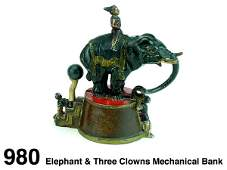 980 Elephant  Three Clowns Mechanical Bank