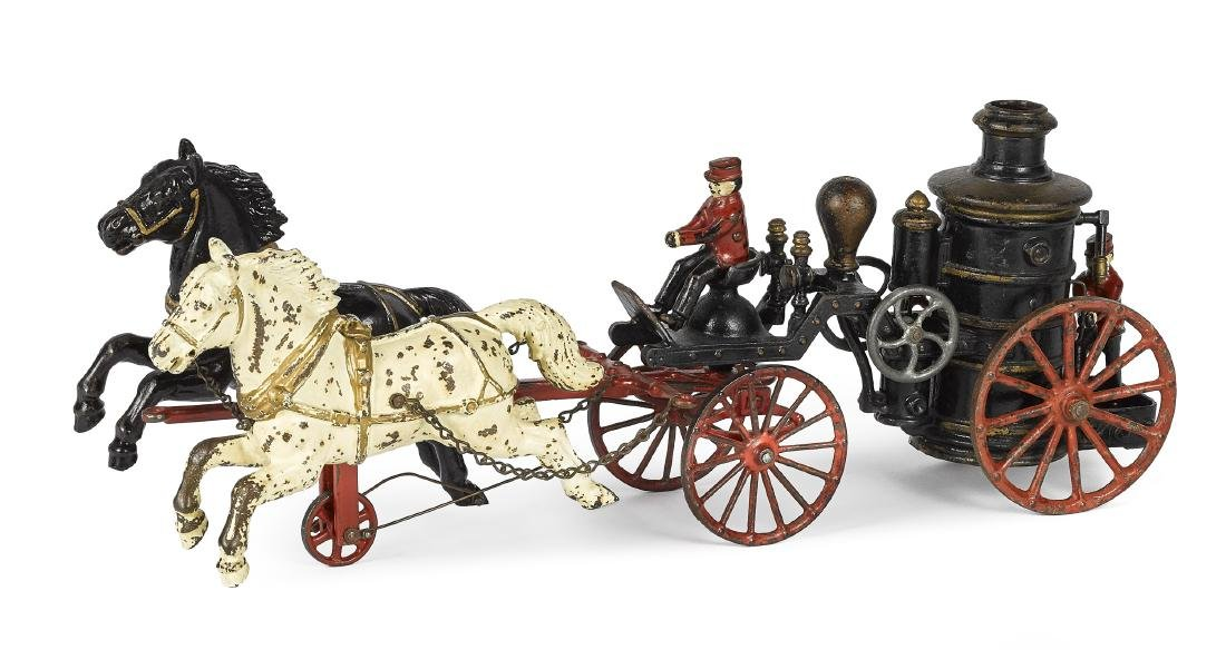 Ives cast iron horse drawn fire pumper