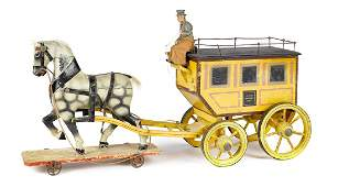 German painted wood horse drawn delivery wagon