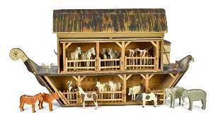 Large German painted Noah's Ark