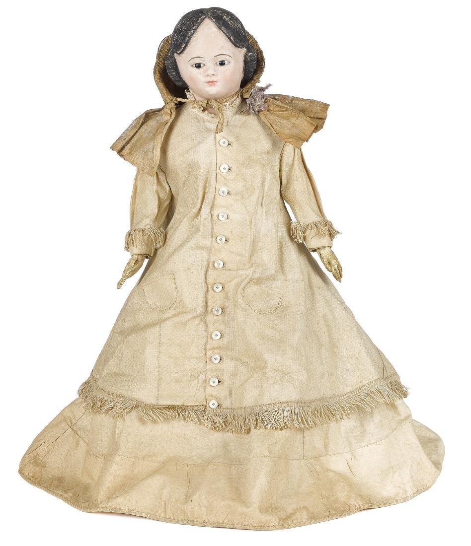 Papier-mâché shoulder head doll on cloth body