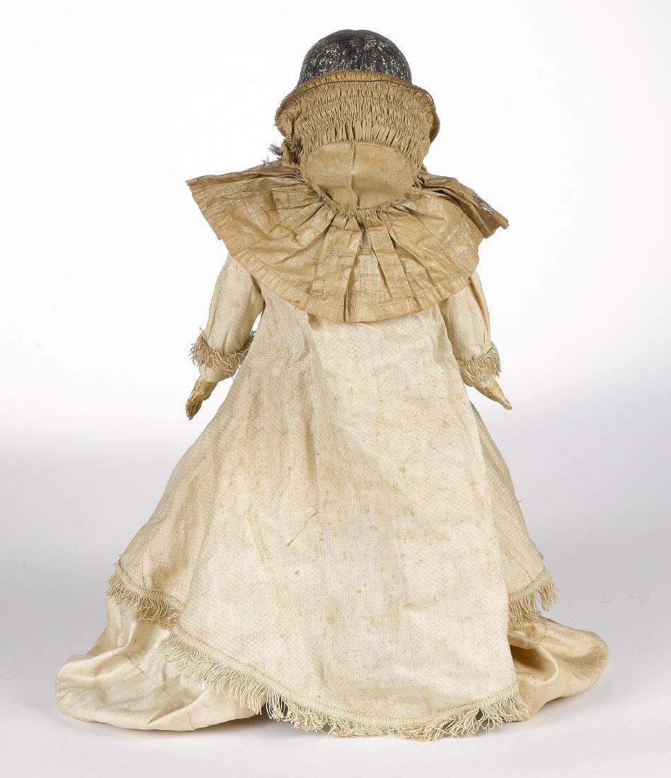 Papier-mâché shoulder head doll on cloth body - 2