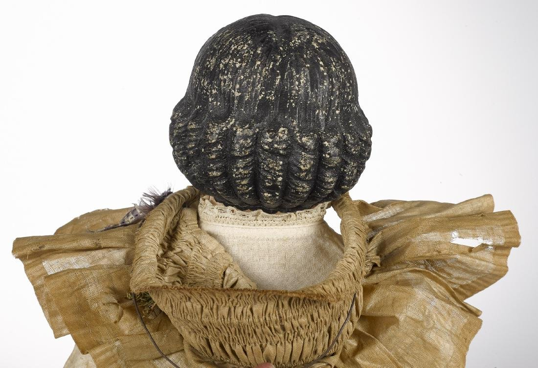 Papier-mâché shoulder head doll on cloth body - 3