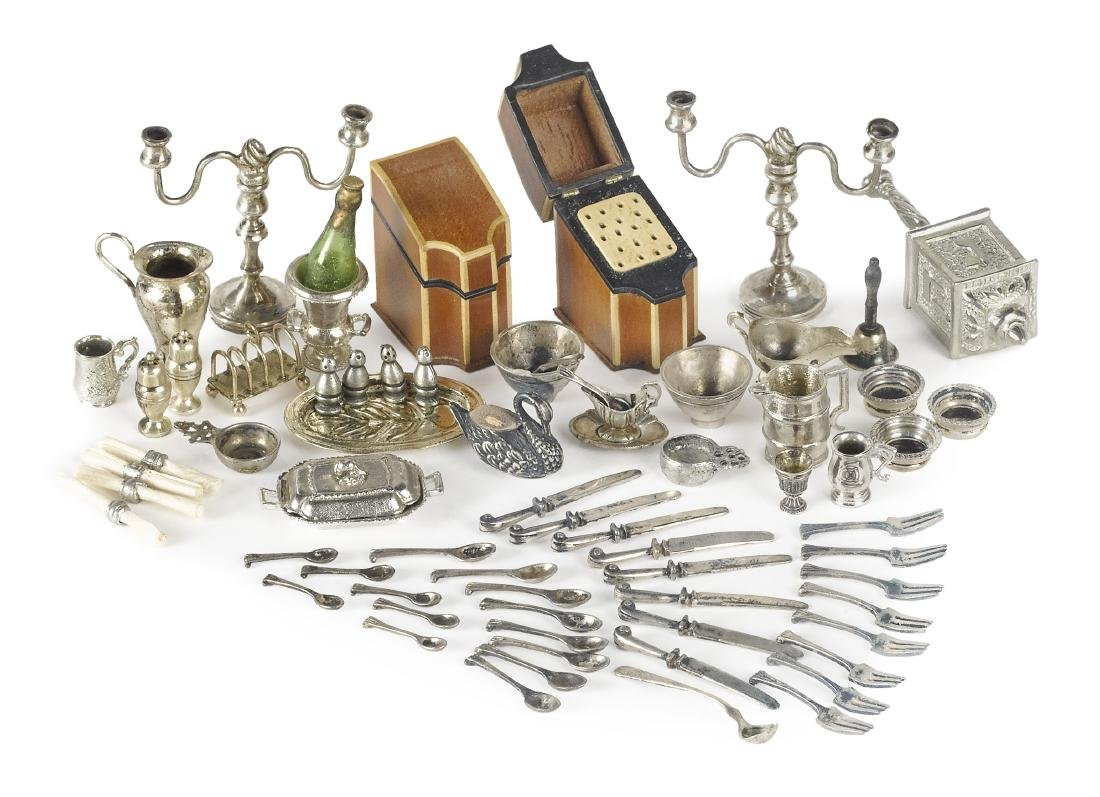 Miniature sterling silver flatware and tableware