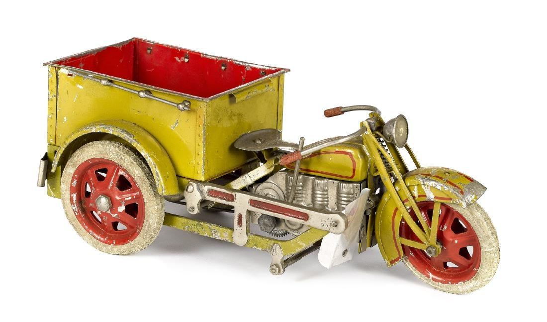 Japanese painted tin wind-up delivery motorcycle