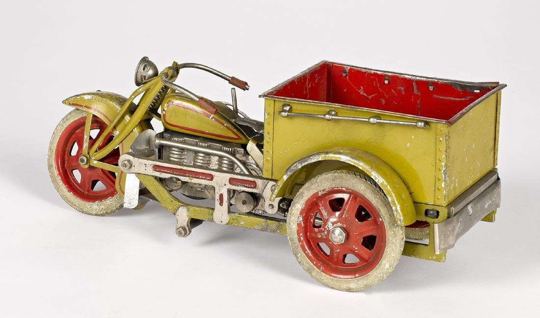 Japanese painted tin wind-up delivery motorcycle - 2