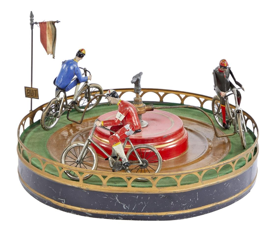 French painted tin clockwork bicycle race toy