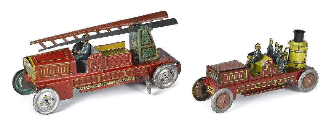 Kellerman lithograph fire pumper penny toy, etc.
