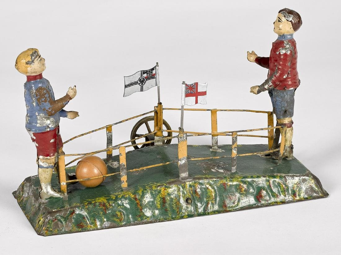 Painted tin soccer players steam toy accessory - 2