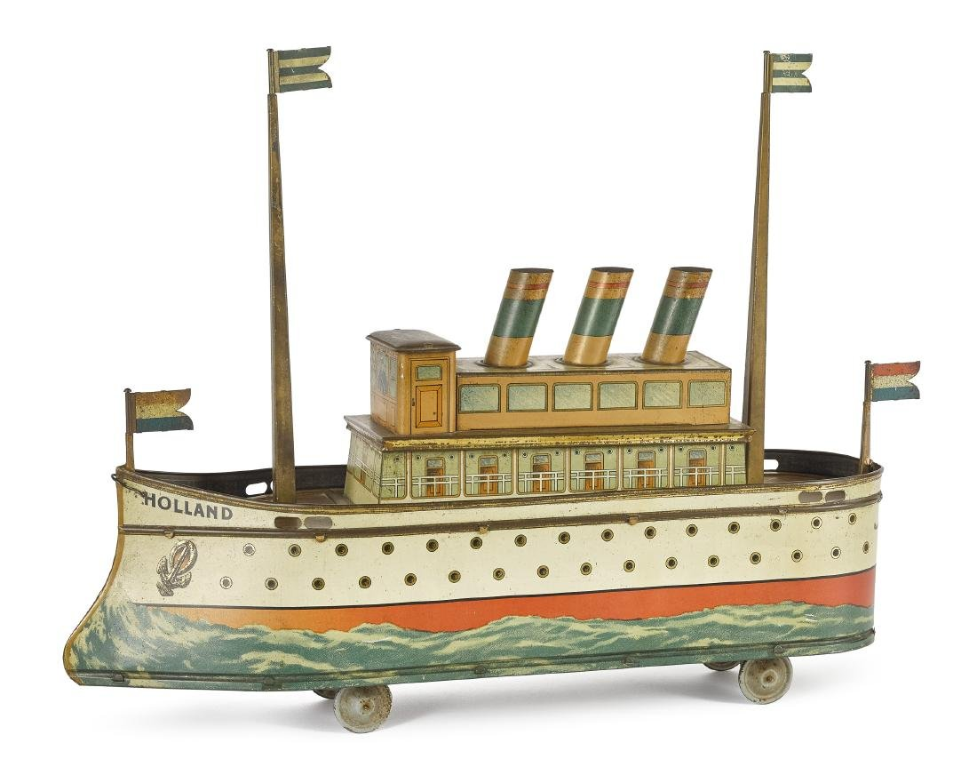 Holland ocean liner biscuit tin pull toy