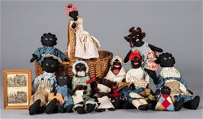 Collection of fourteen cloth Black Americana doll