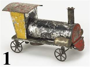 1: American Tin Locomotive Bell Toy