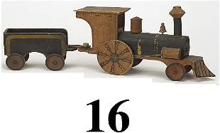 16: Early Wood Whistling Locomotive & Tender