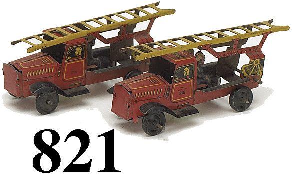 821: Lot: 2 Penny Toy Fire Trucks