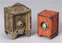Two cast iron safe still banks