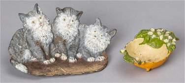 Bradley  Hubbard embossed cast iron cat tray etc