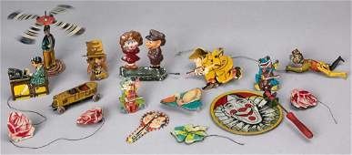 Collection of tin lithograph toys