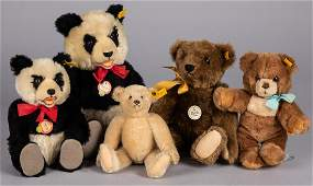 Five Steiff mohair teddy bears