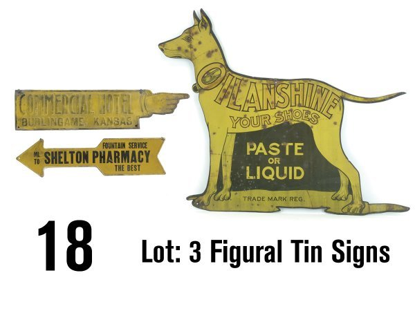 18: Lot: 3 Figural Tin Signs