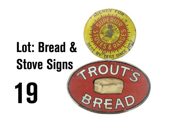 19: Lot: Bread & Stove Signs