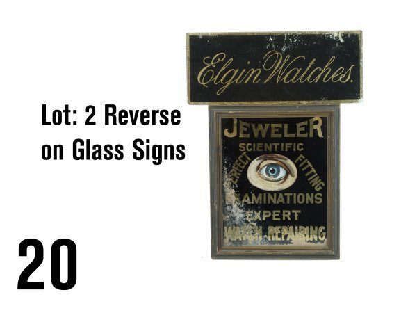 20: Lot: 2 Reverse on Glass Signs