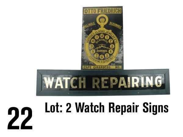 22: Lot: 2 Watch Repair Signs