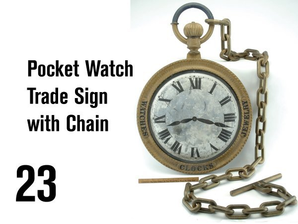 23: Pocket Watch Trade Sign with Chain