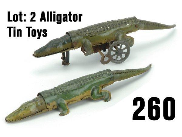 260: Lot: 2 Alligator Tin Toys