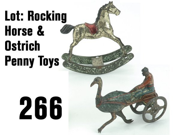 266: Lot: Rocking Horse & Ostrich Penny Toys