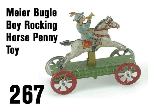 267: Meier Bugle Boy Rocking Horse Penny Toy