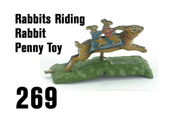 269: Rabbits Riding Rabbit Penny Toy