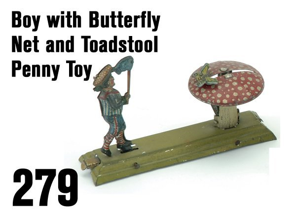 279: Boy with Butterfly Net and Toadstool Penny Toy