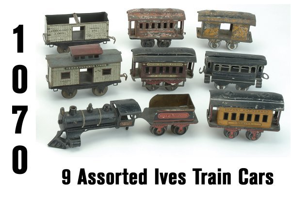1070: Lot: 9 Assorted Ives Train Cars