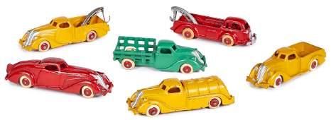 Six Hubley cast iron small vehicles