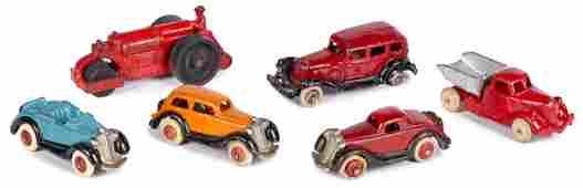 Six small cast iron vehicles Hubley Williams Etc