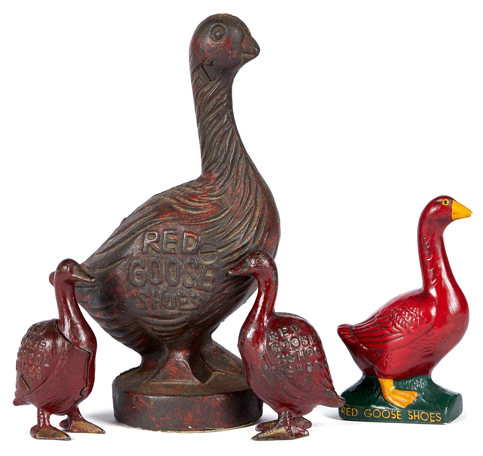 Three cast iron Red Goose Shoes still banks
