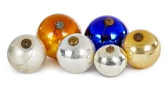 Six German Kugel glass Christmas ornaments