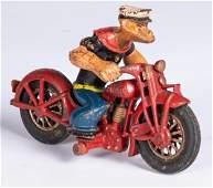 Hubley cast iron Popeye Patrol motorcycle