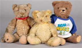 Three mohair teddy bears