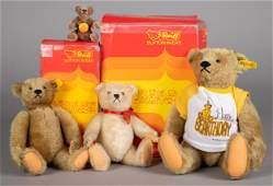 Four vintage Steiff teddy bears