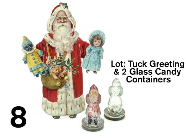 8: Lot: Tuck Greeting & 2 Glass Candy Containers