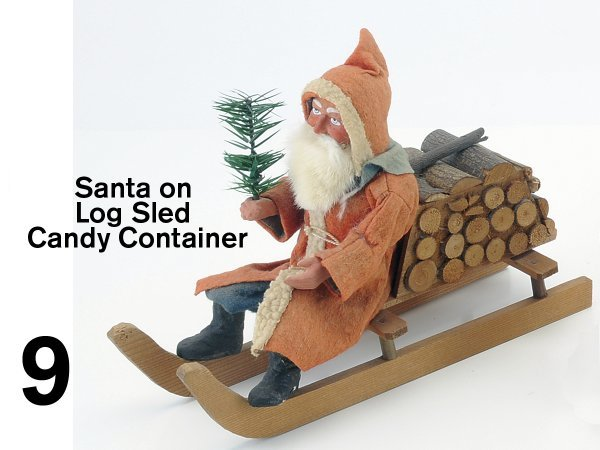 9: Santa on Log Sled Candy Container