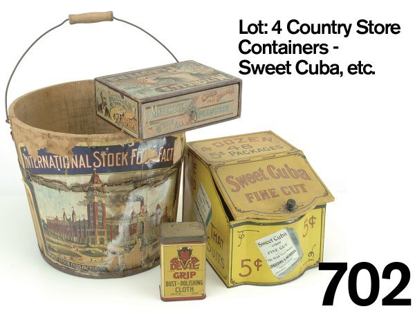 702: Lot: 4 Country Store Containers - Sweet Cuba, etc.