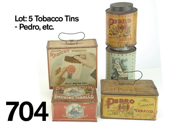 704: Lot: 5 Tobacco Tins - Pedro, etc.