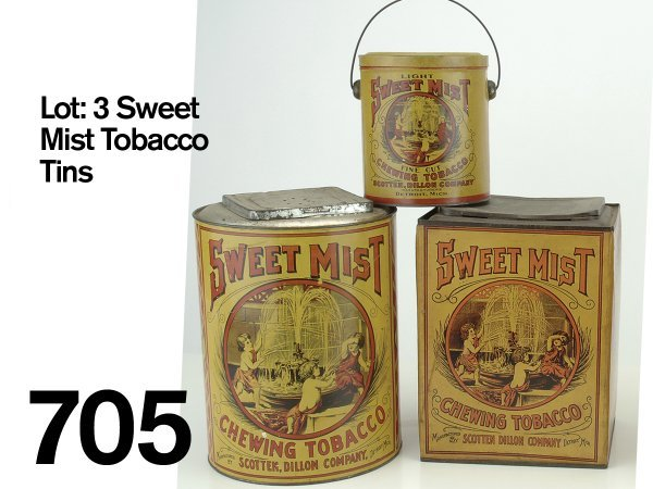 705: Lot: 3 Sweet Mist Tobacco Tins