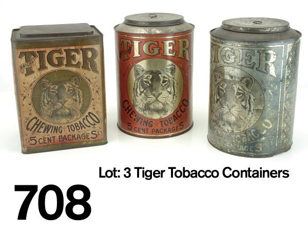 708: Lot: 3 Tiger Tobacco Containers