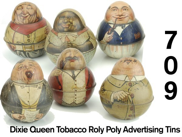 709: Dixie Queen Tobacco Roly Poly Advertising Tins - s