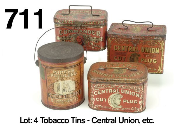 711: Lot: 4 Tobacco Tins - Central Union, etc.