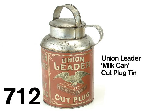 712: Union Leader 'Milk Can' Cut Plug Tin